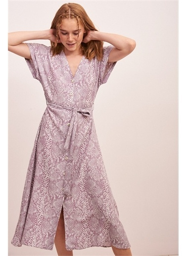 Never More Yılan Desenli Midi Elbise Lila